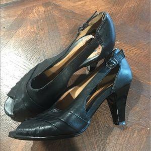Black Sofft Peep-toe Heels